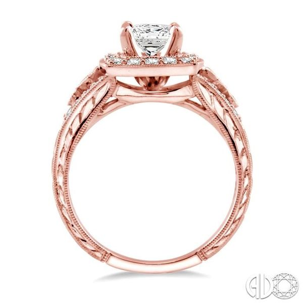 1 1/10 Ctw Diamond Engagement Ring with 1/2 Ct Princess Cut Center Stone in 14K Rose Gold Image 3 Ross Elliott Jewelers Terre Haute, IN