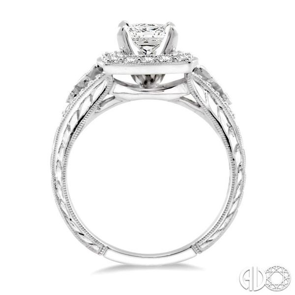 1 1/10 Ctw Diamond Engagement Ring with 1/2 Ct Princess Cut Center Stone in 14K White Gold Image 3 Ross Elliott Jewelers Terre Haute, IN