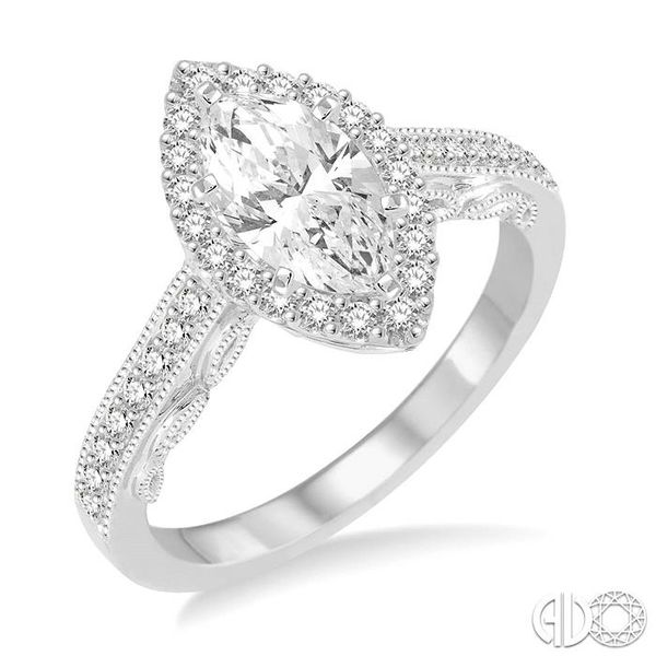 1 Ctw Diamond Engagement Ring with 5/8 Ct Marquise Cut Center Stone in 14K White Gold Ross Elliott Jewelers Terre Haute, IN