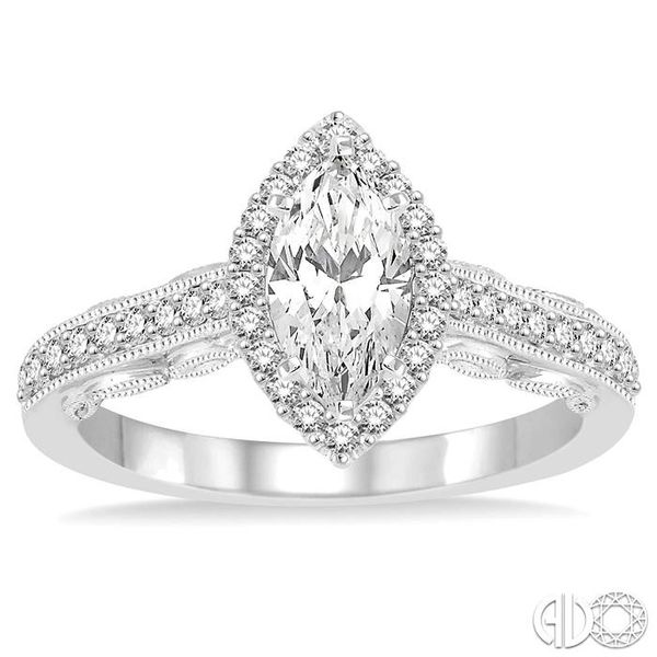 1 Ctw Diamond Engagement Ring with 5/8 Ct Marquise Cut Center Stone in 14K White Gold Image 2 Ross Elliott Jewelers Terre Haute, IN