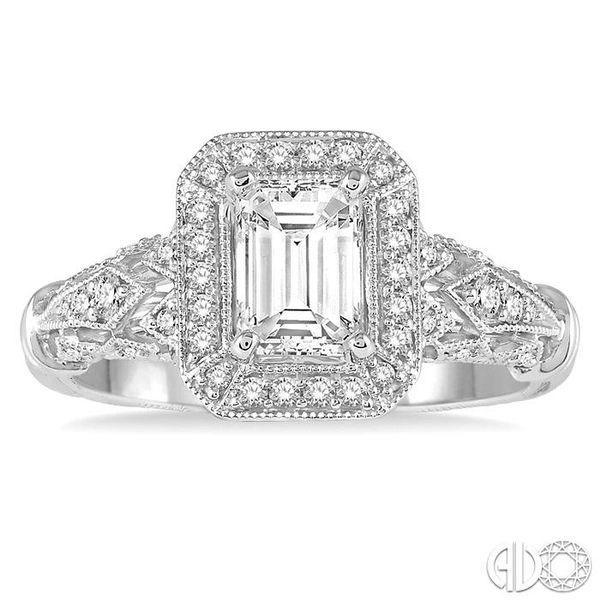 1 Ctw Diamond Engagement Ring with 3/4 Ct Octagon Cut Center Diamond in 14K White Gold Image 2 Ross Elliott Jewelers Terre Haute, IN