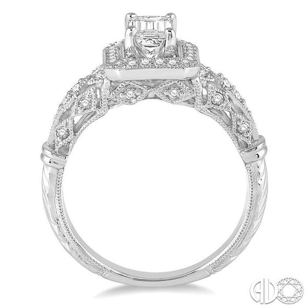 1 Ctw Diamond Engagement Ring with 3/4 Ct Octagon Cut Center Diamond in 14K White Gold Image 3 Ross Elliott Jewelers Terre Haute, IN