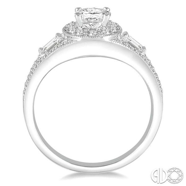 7/8 Ctw Diamond Engagement Ring with 1/3 Ct Oval Shaped Center stone in 14K White Gold Image 3 Ross Elliott Jewelers Terre Haute, IN
