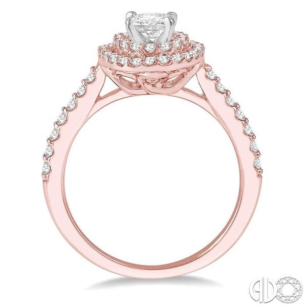 1/2 Ctw Diamond Ladies Engagement Ring with 1/4 Ct Oval Cut Center Stone in 14K Rose and White Gold Image 3 Ross Elliott Jewelers Terre Haute, IN