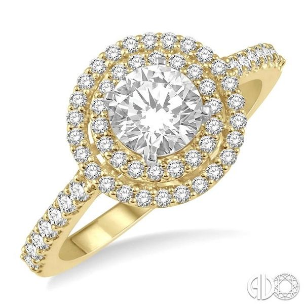 1 Ctw Diamond Ladies Engagement Ring with 1/2 Ct Round Cut Center Stone in 14K Yellow and White Gold Ross Elliott Jewelers Terre Haute, IN