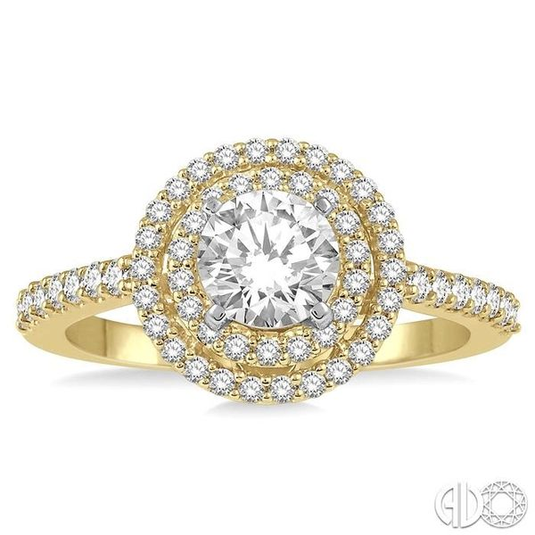 1 Ctw Diamond Ladies Engagement Ring with 1/2 Ct Round Cut Center Stone in 14K Yellow and White Gold Image 2 Ross Elliott Jewelers Terre Haute, IN