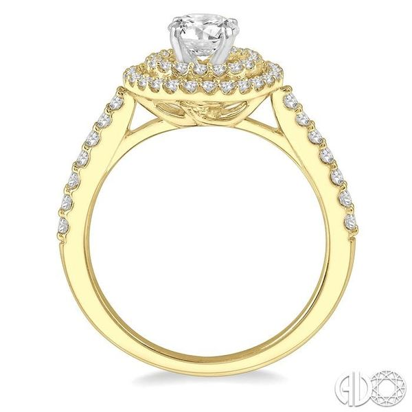 1 Ctw Diamond Ladies Engagement Ring with 1/2 Ct Round Cut Center Stone in 14K Yellow and White Gold Image 3 Ross Elliott Jewelers Terre Haute, IN