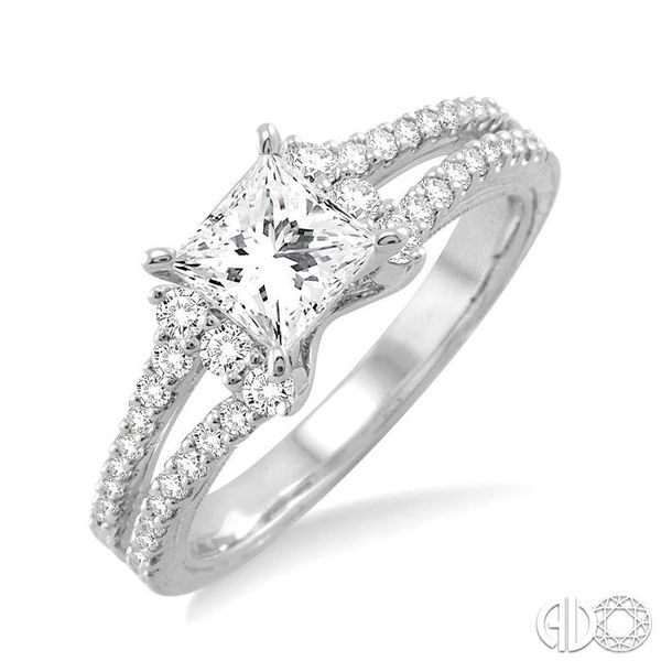 7/8 Ctw Diamond Engagement Ring with 1/2 Ct Princess Cut Center Stone in 14K White Gold Ross Elliott Jewelers Terre Haute, IN