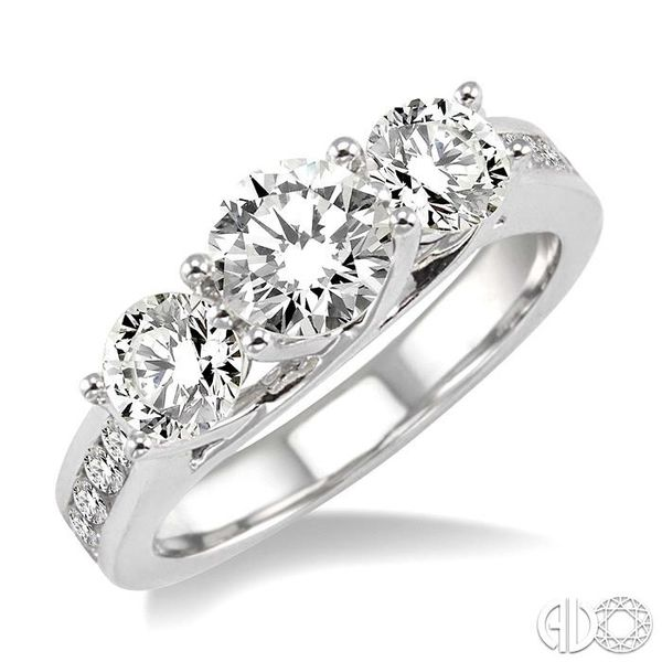2 Ctw Diamond Engagement Ring with 3/4 Ct Round Cut Center Stone in 14K White Gold Ross Elliott Jewelers Terre Haute, IN