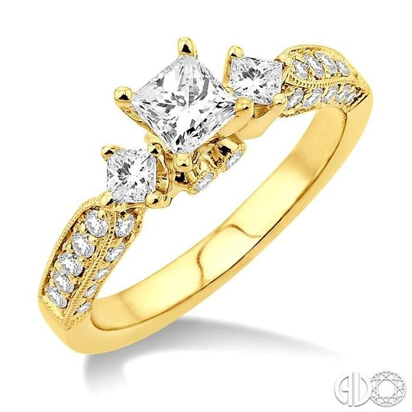 1 Ctw Diamond Engagement Ring with 3/8 Ct Princess Cut Center Stone in 14K Yellow Gold Ross Elliott Jewelers Terre Haute, IN