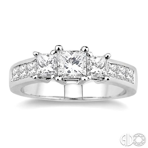 2 Ctw Nine Stone Princess Cut Diamond Engagement Ring in 14K White Gold Image 2 Ross Elliott Jewelers Terre Haute, IN