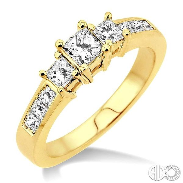 1 Ctw Nine Stone Princess Cut Diamond Engagement Ring in 14K Yellow Gold Ross Elliott Jewelers Terre Haute, IN