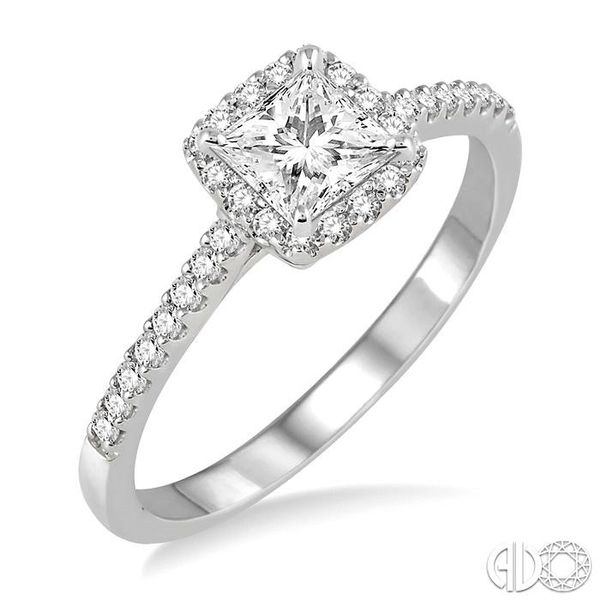 1/2 Ctw Diamond Engagement Ring with 1/4 Ct Princess Cut Center Stone in 14K White Gold Ross Elliott Jewelers Terre Haute, IN