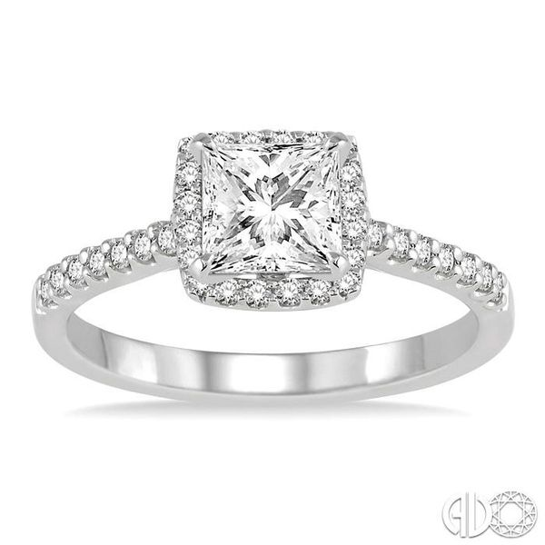 1/2 Ctw Diamond Engagement Ring with 1/4 Ct Princess Cut Center Stone in 14K White Gold Image 2 Ross Elliott Jewelers Terre Haute, IN