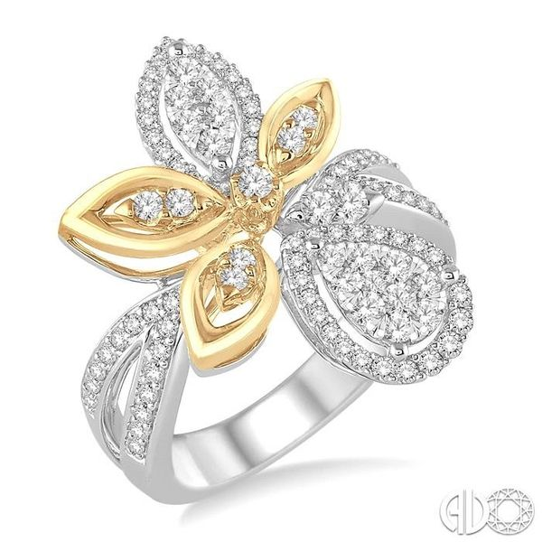 7/8 Ctw Round Cut Diamond Lovebright Ring in 14K White and Yellow Gold Ross Elliott Jewelers Terre Haute, IN
