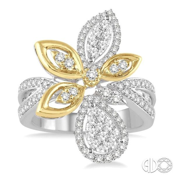 7/8 Ctw Round Cut Diamond Lovebright Ring in 14K White and Yellow Gold Image 2 Ross Elliott Jewelers Terre Haute, IN