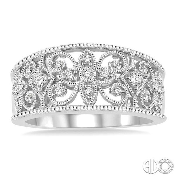 1/3 Ctw Floral Cutwork Round Cut Diamond Ladies Ring in 14K White Gold Image 2 Ross Elliott Jewelers Terre Haute, IN