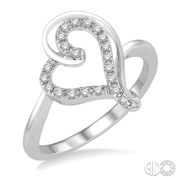1/6 Ctw Double Heart Charm Round Cut Diamond Ladies Ring in 10K White Gold Ross Elliott Jewelers Terre Haute, IN