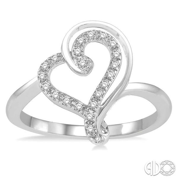 1/6 Ctw Double Heart Charm Round Cut Diamond Ladies Ring in 10K White Gold Image 2 Ross Elliott Jewelers Terre Haute, IN