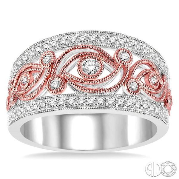 1/2 Ctw Round Cut Diamond Fashion Band in 14K White and Rose/Rose Gold Image 2 Ross Elliott Jewelers Terre Haute, IN