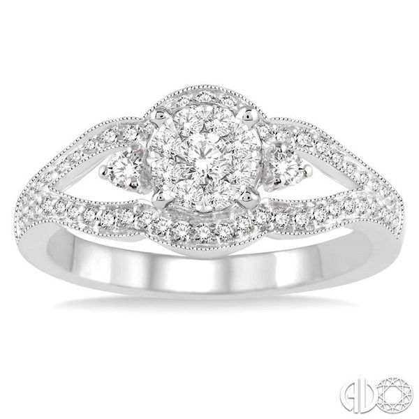 1/2 Ctw Round Cut Diamond Lovebright Ring in 14K White Gold Image 2 Ross Elliott Jewelers Terre Haute, IN