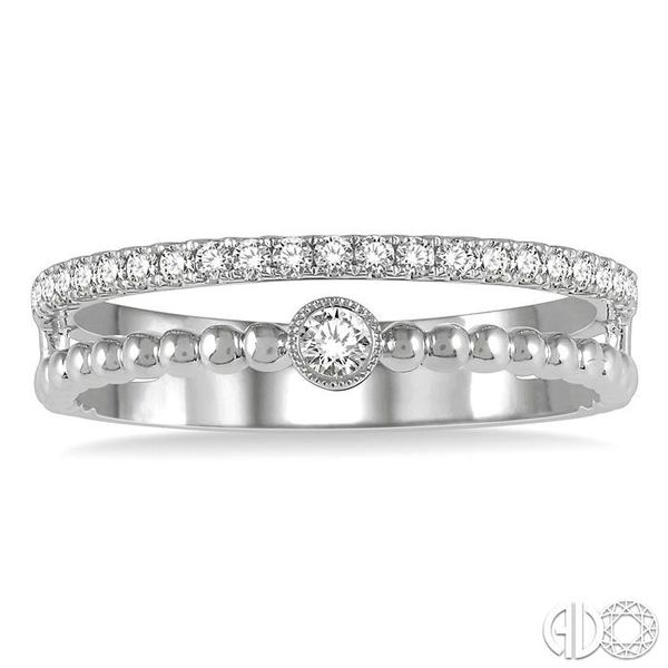 1/4 ctw Open Ball Link & Round Cut Diamond Fashion Ring in 14K White Gold Image 2 Ross Elliott Jewelers Terre Haute, IN