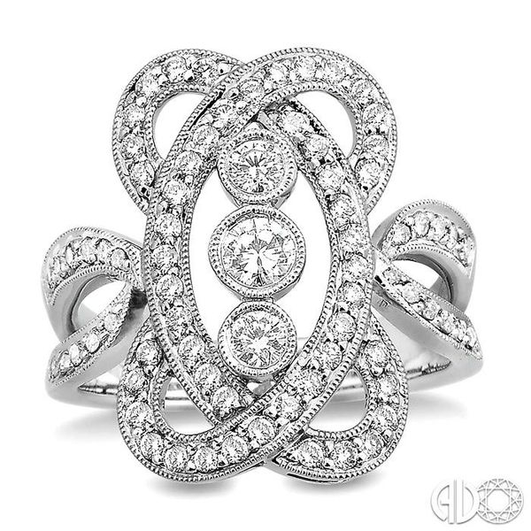 1 Ctw Round Cut Diamond Fashion Ring in 14K White Gold Image 2 Ross Elliott Jewelers Terre Haute, IN