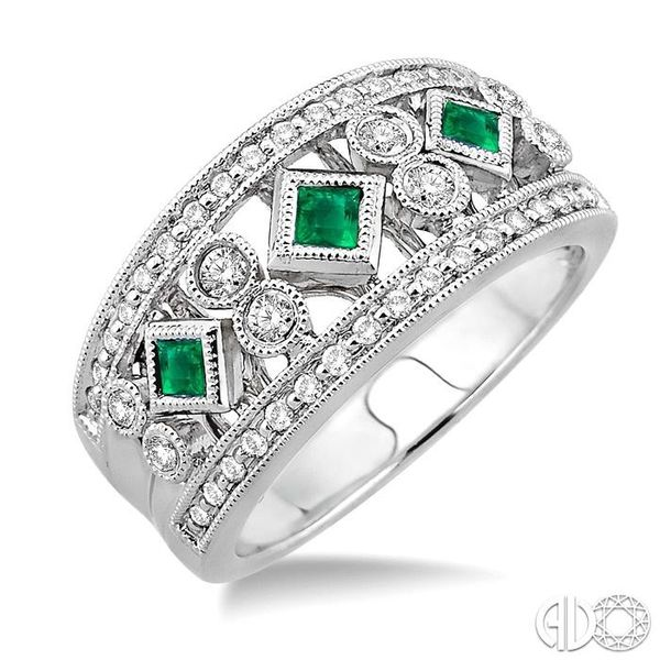 3/8 Ctw Round Cut Diamond and 2.2mm & 2.4mm Princess Cut Emerald Fashion Band in 14K White Gold Ross Elliott Jewelers Terre Haute, IN