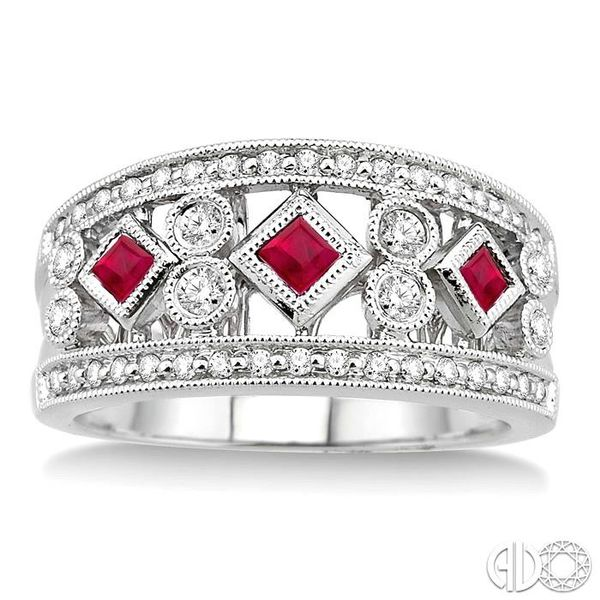 3/8 Ctw Round Cut Diamond and 2.2mm & 2.4mm Princess Cut Ruby Fashion Band in 14K White Gold Image 2 Ross Elliott Jewelers Terre Haute, IN