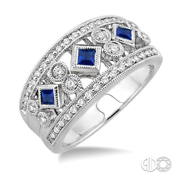 3/8 Ctw Round Cut Diamond and 2.2mm & 2.4mm Princess Cut Sapphire Fashion Band in 14K White Gold Ross Elliott Jewelers Terre Haute, IN