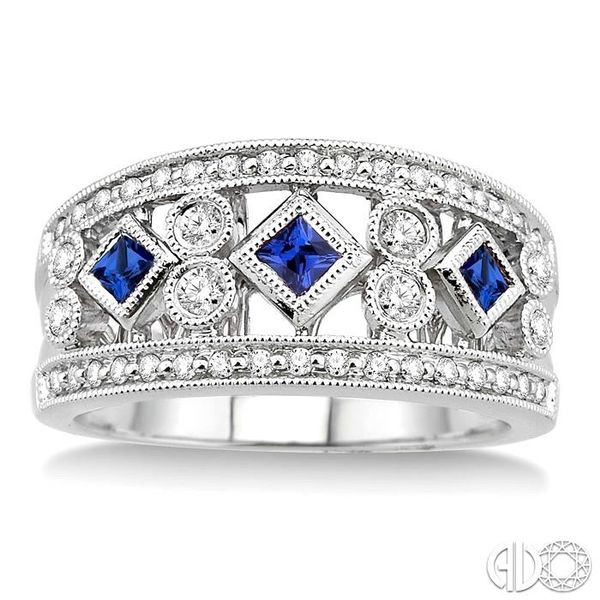 3/8 Ctw Round Cut Diamond and 2.2mm & 2.4mm Princess Cut Sapphire Fashion Band in 14K White Gold Image 2 Ross Elliott Jewelers Terre Haute, IN