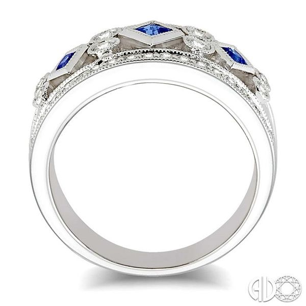 3/8 Ctw Round Cut Diamond and 2.2mm & 2.4mm Princess Cut Sapphire Fashion Band in 14K White Gold Image 3 Ross Elliott Jewelers Terre Haute, IN