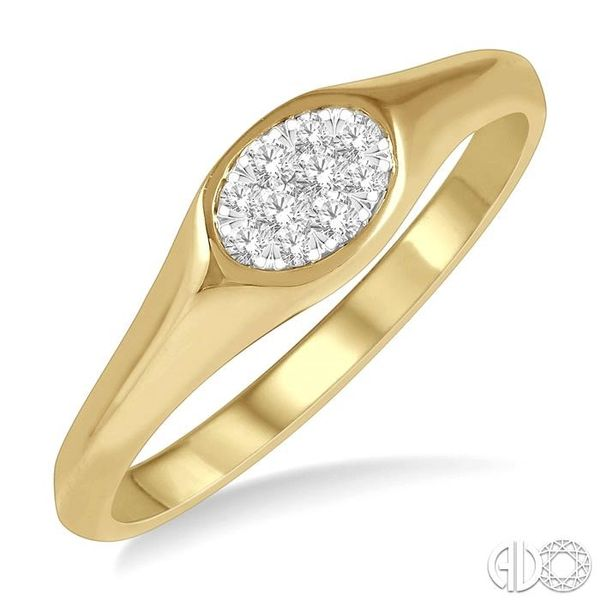 1/8 ctw Oval Shape Lovebright Diamond Ring in 14K Yellow And White Gold Ross Elliott Jewelers Terre Haute, IN