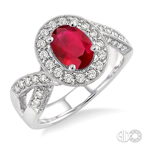 8x6mm Oval Cut Pink Ruby and 3/4 Ctw Round Cut Diamond Ring in 14K White Gold Ross Elliott Jewelers Terre Haute, IN