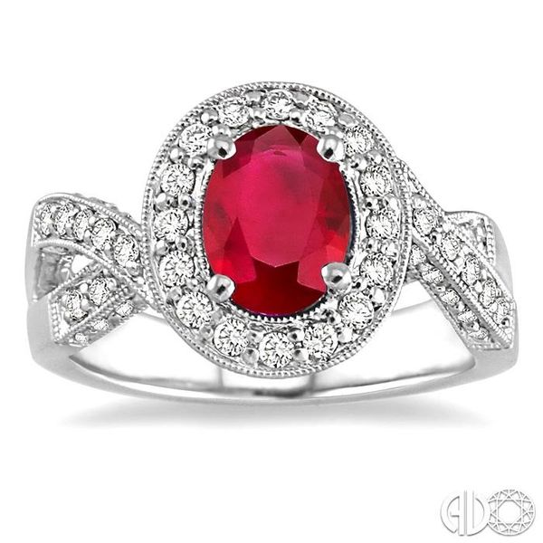 8x6mm Oval Cut Pink Ruby and 3/4 Ctw Round Cut Diamond Ring in 14K White Gold Image 2 Ross Elliott Jewelers Terre Haute, IN