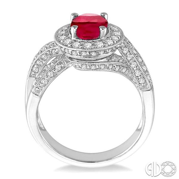 8x6mm Oval Cut Pink Ruby and 3/4 Ctw Round Cut Diamond Ring in 14K White Gold Image 3 Ross Elliott Jewelers Terre Haute, IN