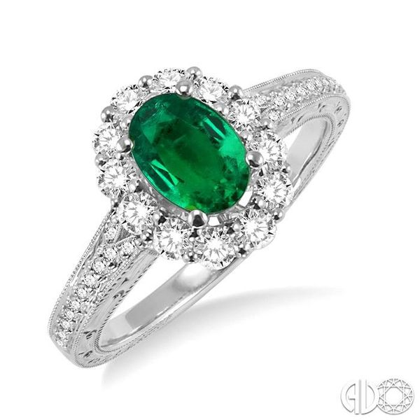 7x5mm Oval Cut Emerald and 1/2 Ctw Round Cut Diamond Ring in 14K White Gold Ross Elliott Jewelers Terre Haute, IN