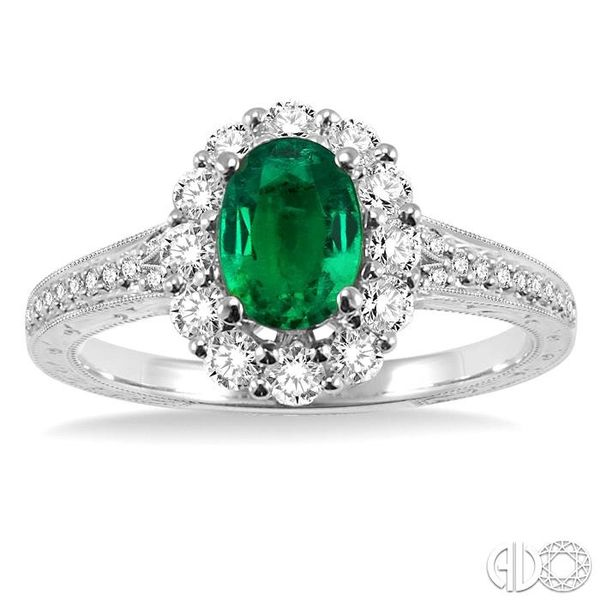 7x5mm Oval Cut Emerald and 1/2 Ctw Round Cut Diamond Ring in 14K White Gold Image 2 Ross Elliott Jewelers Terre Haute, IN