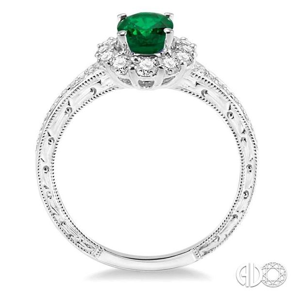7x5mm Oval Cut Emerald and 1/2 Ctw Round Cut Diamond Ring in 14K White Gold Image 3 Ross Elliott Jewelers Terre Haute, IN