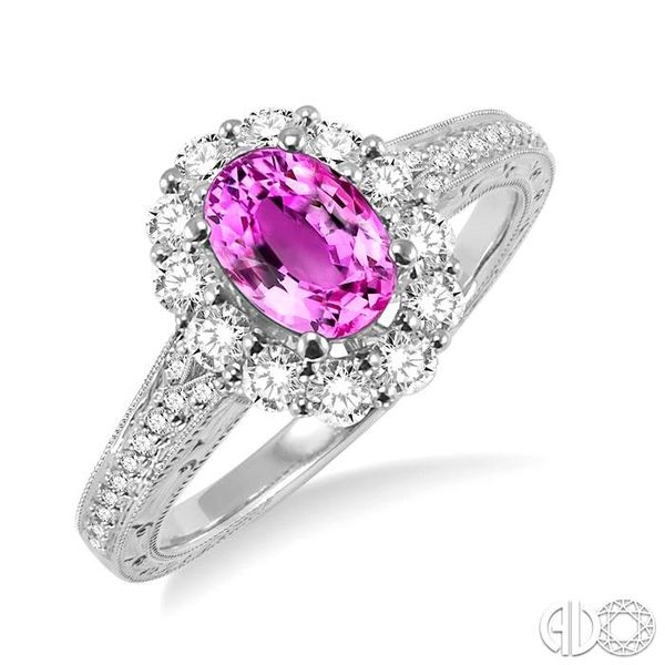7x5mm Oval Cut Pink Sapphire and 1/2 Ctw Round Cut Diamond Ring in 14K White Gold Ross Elliott Jewelers Terre Haute, IN