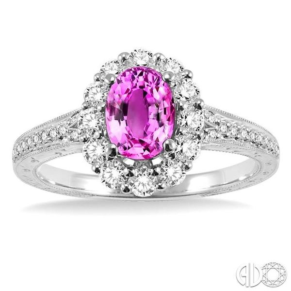 7x5mm Oval Cut Pink Sapphire and 1/2 Ctw Round Cut Diamond Ring in 14K White Gold Image 2 Ross Elliott Jewelers Terre Haute, IN