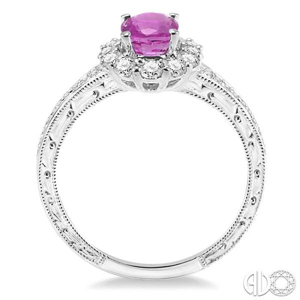 7x5mm Oval Cut Pink Sapphire and 1/2 Ctw Round Cut Diamond Ring in 14K White Gold Image 3 Ross Elliott Jewelers Terre Haute, IN