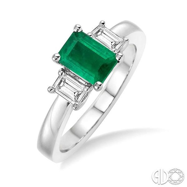 7X5mm Octagon Cut Emerald and 3/8 Ctw Diamond Ring in 14K White Gold Ross Elliott Jewelers Terre Haute, IN