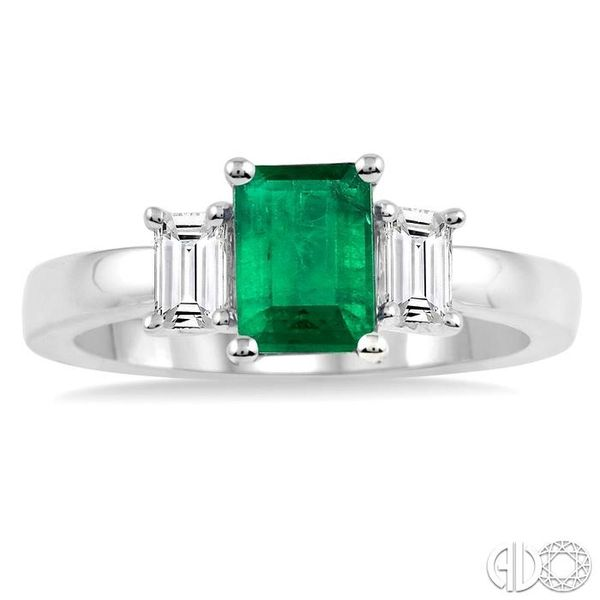 7X5mm Octagon Cut Emerald and 3/8 Ctw Diamond Ring in 14K White Gold Image 2 Ross Elliott Jewelers Terre Haute, IN