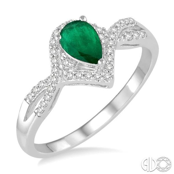 6x4 MM Emerald and 1/6 Ctw Round Cut Diamond Ring in 14K White Gold Ross Elliott Jewelers Terre Haute, IN