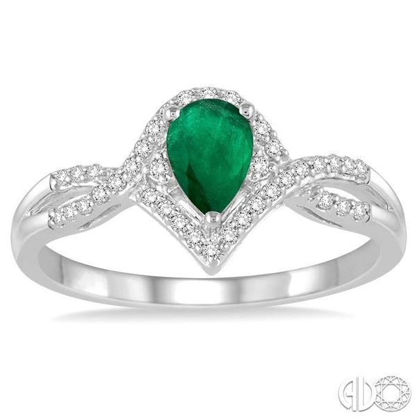 6x4 MM Emerald and 1/6 Ctw Round Cut Diamond Ring in 14K White Gold Image 2 Ross Elliott Jewelers Terre Haute, IN