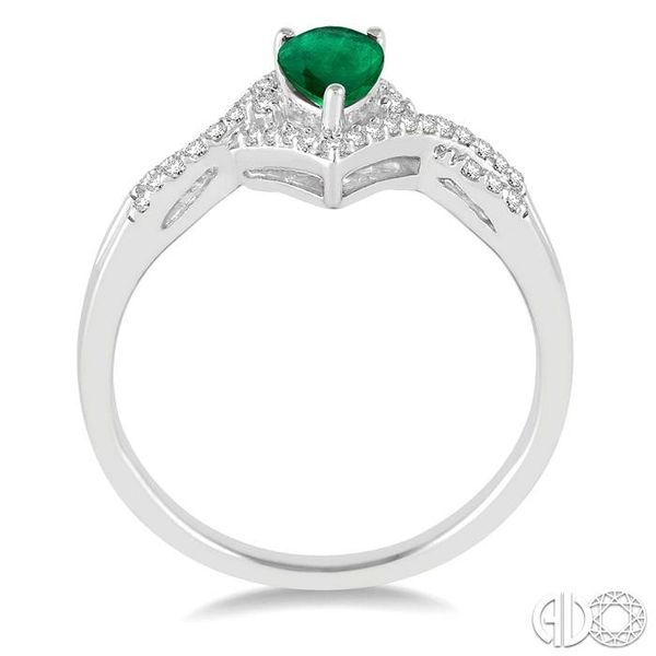 6x4 MM Emerald and 1/6 Ctw Round Cut Diamond Ring in 14K White Gold Image 3 Ross Elliott Jewelers Terre Haute, IN