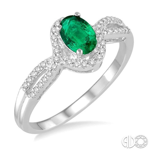 6x4 MM Oval Cut Emerald and 1/6 Ctw Round Cut Diamond Ring in 14K White Gold Ross Elliott Jewelers Terre Haute, IN