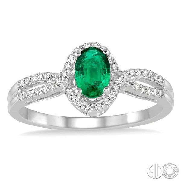 6x4 MM Oval Cut Emerald and 1/6 Ctw Round Cut Diamond Ring in 14K White Gold Image 2 Ross Elliott Jewelers Terre Haute, IN