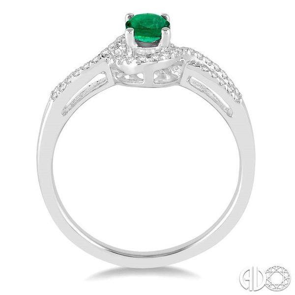 6x4 MM Oval Cut Emerald and 1/6 Ctw Round Cut Diamond Ring in 14K White Gold Image 3 Ross Elliott Jewelers Terre Haute, IN